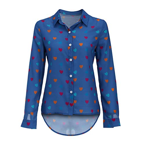 Women Casual Buttons Tops V-Neck Loose Love Printing T-Shirts Long Sleeve Chiffon Sport Blouse Breathable Vest