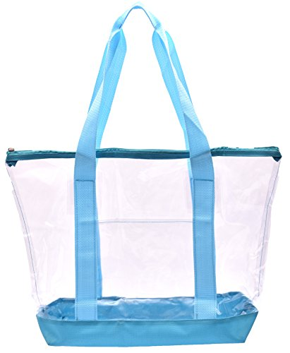Clear Tote Bag - Top Zipper Closure, Long Shoulder Strap and Attractive Fabric Trimming. Perfect Transparent Travel Tote for all Places and Events where Clear Bags are Required. (Teal) by Handy Laundry (Image #7)