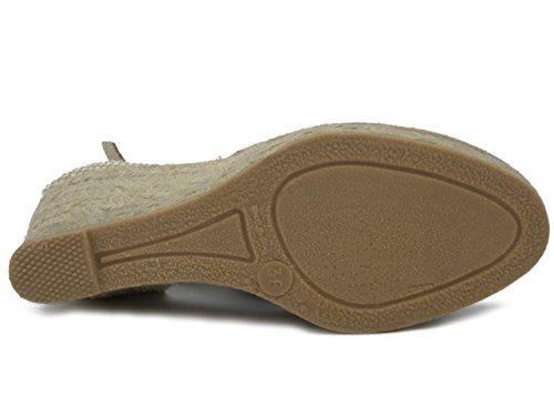 Lumberjack sandalo in camoscio e tessuto beige, zeppa in corda 7cm.-25406 E17