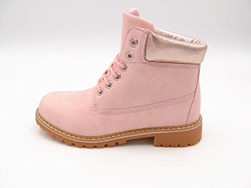 Damen Biker Worker Boots Metallic Effekt am Schaft Profilsohle Blockabsatz (8495) Hellrosa rose