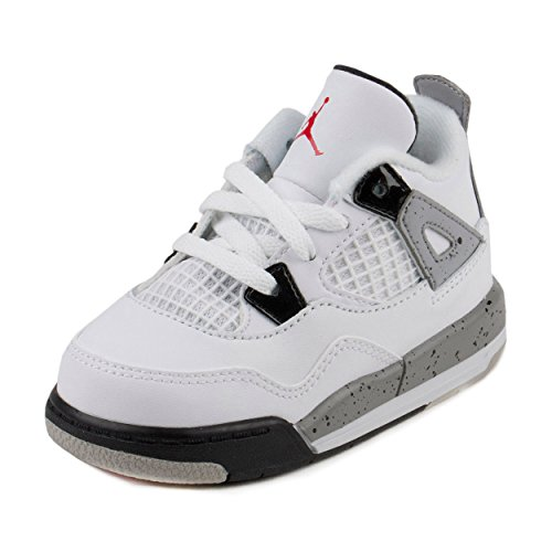Nike Jordan Toddlers Jordan 4 Retro Bt White/Fire Red/Black/Mtt Slvr Basketball Shoe 6 Infants US (Cement Iv White Jordan)