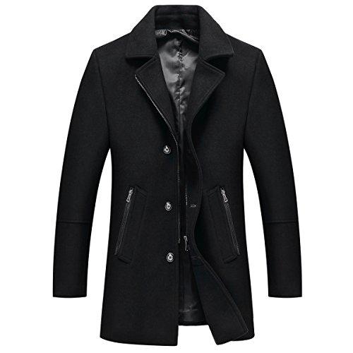 Chaqueta Manga Guateada Hombre Mirecoo Larga Abrigo Negro Para Básico Cuello Mao xHU54qnY