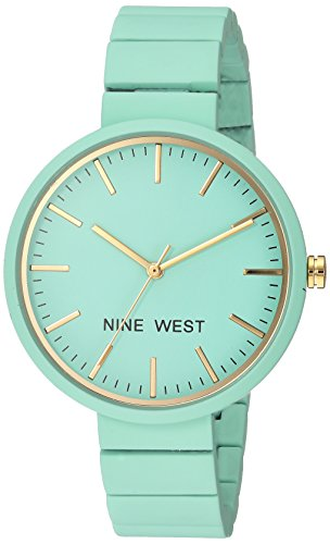 Nine West Women's NW/2012MTMT Matte Mint Green Rubberized Bracelet Watch