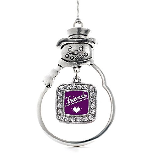 Inspired Silver Best FRIENDS Classic Snowman Holiday Christmas Tree Ornament With Crystal Rhinestones (Snowmans Best Friend Rhinestone)