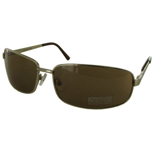 (Kenneth Cole Reaction 'KC1160' Rectangular Sunglasses, Shiny Gold/Brown)