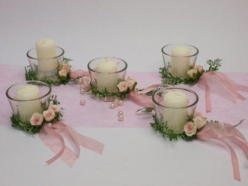 Amazon De 5 Kerze Votivglas Kerzenring Rosa Rosen Deko Kommunion