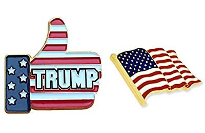 American Flag Lapel Pin ( MADE IN USA ) and Thumbs Up Donald Trump Pin - Jewelry Metal, Gold Plating