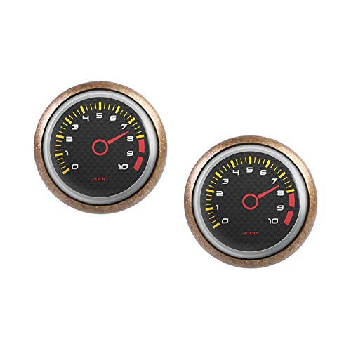 (Stud Earring Pair with Cabochon Picture Speed ??meter tachometer RPM revolutions instrument display Carbon bronze 0.47 inch)