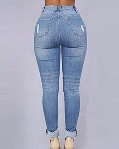 ZhuiKun Pantalones Ajustados Leggins Slim Jeans Skinny Vaqueros para Mujer Azul Claro