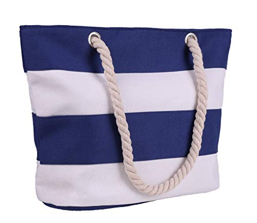 Beach Bag With Inner Zipper Pocket, Canvas Shoulder Tote Bag with Cotton Rope ()