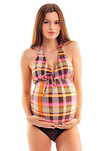 Atractivo tankini para situaciones de embarazo con braguita de biquini, con aspecto individual / Octopus 1090SS-f4374 Braun im Karo Look