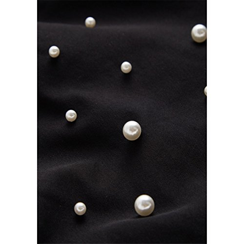 Bodycon Skinny taille Denim Pantalon Perles Noir Femmes Pantalons Paneled Qikaka Casual Jeans haute xfaAXT6q