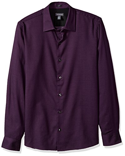 Van Heusen Men's Slim Fit Long Sleeve Button Down Dobby Dot Shirt, Purple Okinawa, Large