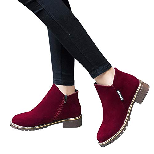Women Boots - Women Fashion Boots Suede Ankle Boots High Heeled Shoes Short Booties by Lowprofile Wine