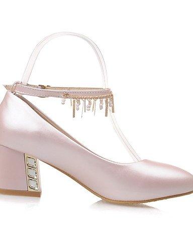 GGX/ Damen-High Heels-Büro / Lässig-PU-Blockabsatz-Komfort / Spitzschuh-Blau / Rosa / Weiß pink-us9.5-10 / eu41 / uk7.5-8 / cn42