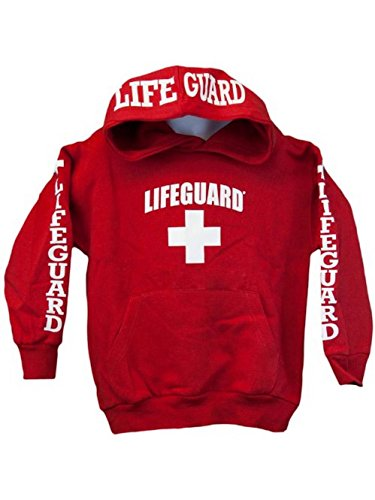 Lifeguard Hoodie Kids Life Guard Sweatshirt Red Small (6-8)