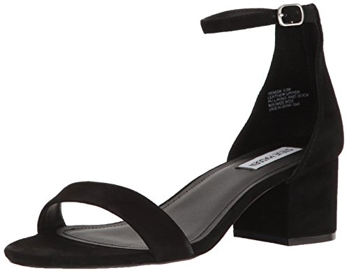 Steve Madden Women's Ireneew Dress Sandal, Black Suede, 8.5 W US