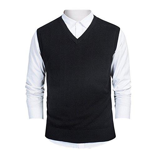 TopTie Mens Business Solid Color Plain Sweater Vest, Cotton Fit Casual Pullover-Black-XL (Men Sweater Sweaters Vests)