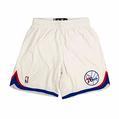 (adidas Philadelphia 76ers NBA White Authentic On-Court Climacool Team Game Shorts for Men (M))