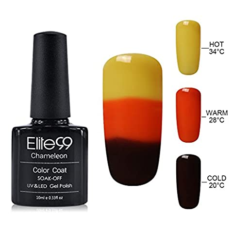 Elite99 Soak Off Gel Nail Polish,UV LED Three-color Thermal Temperature Color Changing Nail Lacquer,Professional Manicure Salon 10ML - 3 Color Led