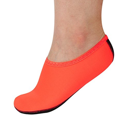 Men Women Yoga Surf Beach Snorkeling Socks Swimming Diving Socks Swim Shoes (XL, Orange) from LANDFOX
