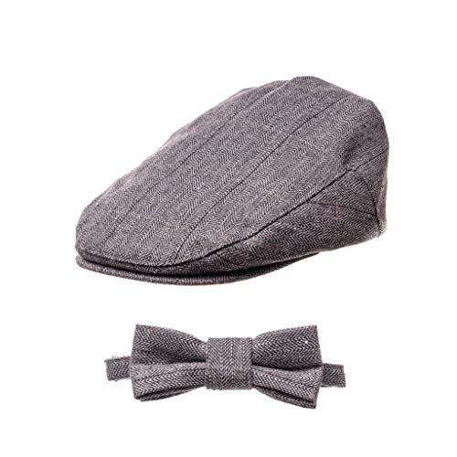 ally Cap - Boy's Tweed Page Boy Newsboy Baby Kids Driver Cap Hat (L 54cm, Mike Set) ()