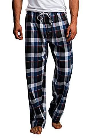 CYZ Men's 100% Cotton Super Soft Flannel Plaid Pajama Pants-BlueBlackMadras-XL - Flannel Pajama Pants Sleepwear