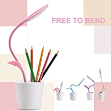 WER Flexible USB Touch LED Desk Lamp with 3-Level Dimmer and Decor Plant Pencil Holder(Pink)