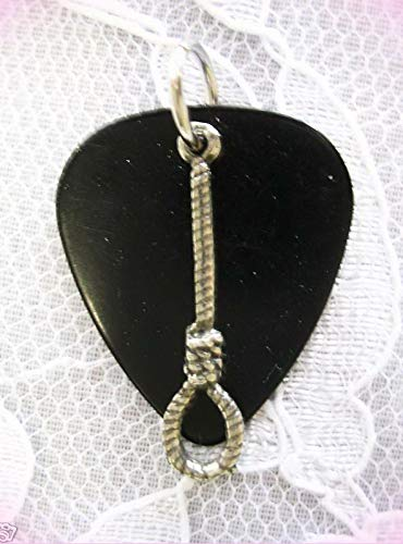 Black Guitar Pick & Usa Noose Hang Em High Charm Pendant Adj Necklace For Women