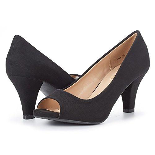 Fashion Shoes DREAM PAIRS Stilettos Heels Pumps Toe Black Women's Peep Susan 7ntHqwzxn