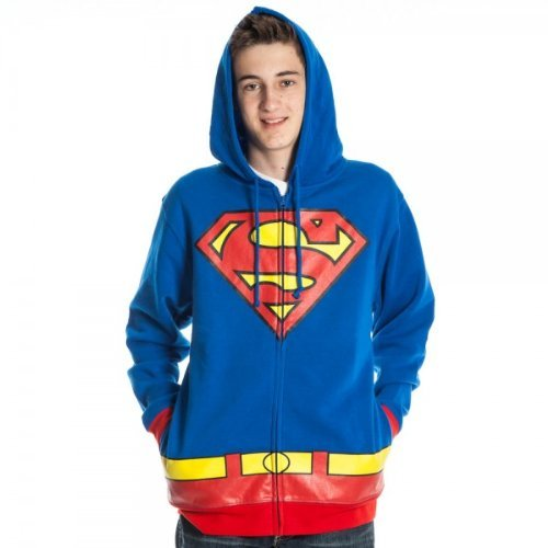 Bioworld Superman Men's Costume Hoody Hooded Sweatshirt, Royal