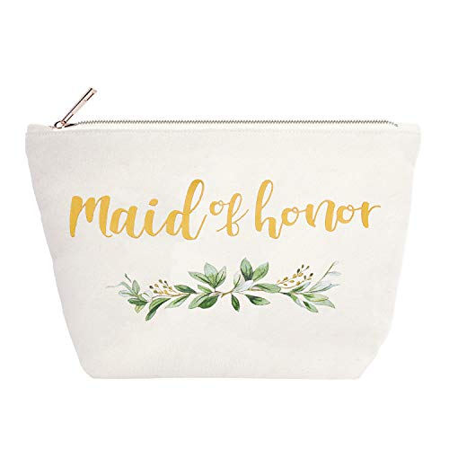 ElegantPark Maid of Honor Bridesmaid Cosmetic Bag Travel Makeup Bag for Women Bridal Shower Gifts Wedding Party Pouch Zipper Canvas Cotton