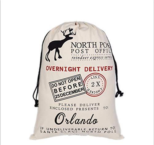 HUAN XUN Personalized Christmas Santa Sack Custom Name Orlando Best Gifts Bags for Home Familys