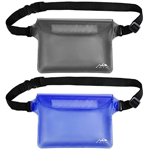 SMARTAKE 2-Pack Waterproof Pouch with Waist Strap, Durable Dry Bag for Phone, Valuables and Wallet, Waterproof Belt Bag Case for Swimming Boating Snorkeling Fishing and Beach