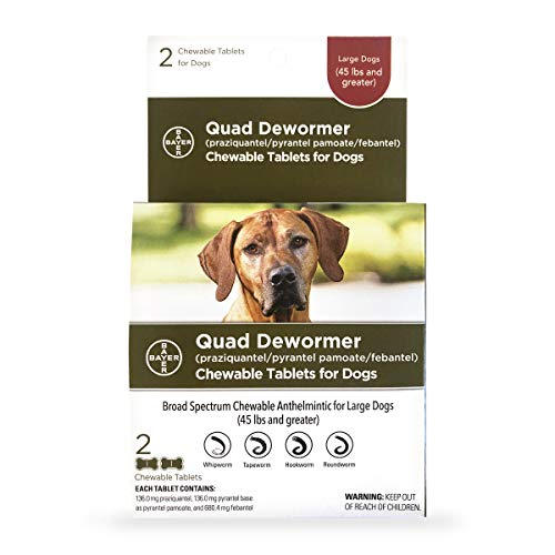 Bayer Chewable Quad Dewormer for Large Dogs, 45 lbs and over, 2 chewable tablets
