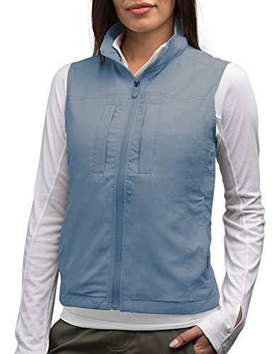 SCOTTeVEST Featherweight for Women - Lightweight Travel Vest - Safari Vest (CDB XXL) Cadet Blue