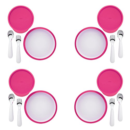 OXO Tot 4-Piece Feeding Set, Pink (4 Pack) by OXO