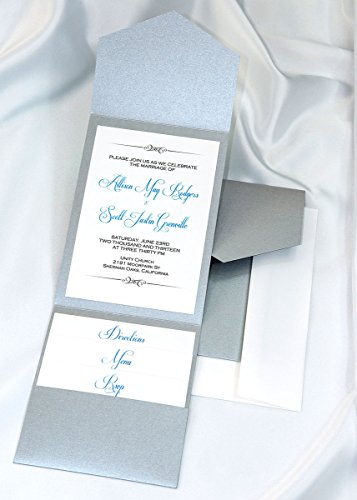 Silver Shimmer Pocket (All-in-One Pocket Invitation Kit - Deep Silver Elegance - Pack of 20)