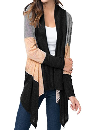 Drape Neck Long Sleeve - HUUSA Sexy Womens Shawl Neck Drape Front Long Sleeve Cardigan Sweater L Black