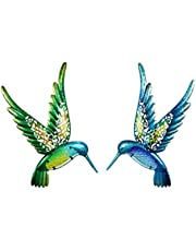 Liffy Metal Hummingbird Wall Art with Colour Printing Glass for Garden Outdoor Statues Patio Bedroom Decoration Sculptures