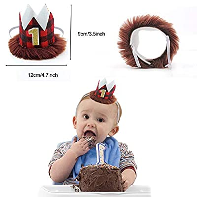 Jblcc Pack of 3 - Lumberjack First Birthday Highchair Banner - Buffalo Check First Birthday Crown - Buffalo Plaid 1st Birthday Cake Topper - Lumberjack/Buffalo Plaid Baby Boy First Birthday: Toys & Games