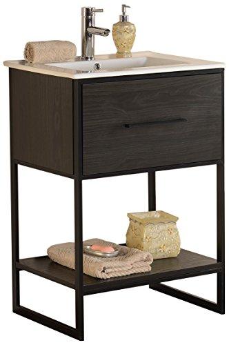 Legion Furniture WH7024-EB Sink Vanity With Black Metal Frame, 24', Espresso