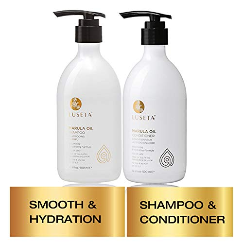Luseta Marula Oil Shampoo & Conditioner Set, for Fine and Dry Hair, 2 x 16.9 Oz