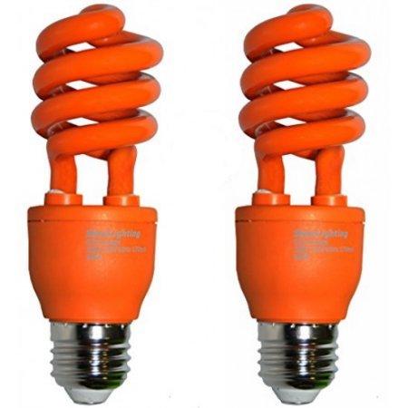 SleekLighting 13 Watt Orange Spiral CFL Light Bulb 120Volt, E26 Medium Base. (Pack of 2)