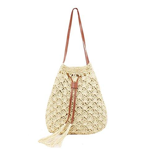 Sherry Bucket Bag Women Straw Summer Drawstring Handbag Purse Weave Shoulder Bags (off white))
