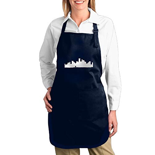 Uiowsbe Artist Canvas Apron with Pockets for Unisex Philadelphia Skyline Drawing Multipurpose Adjustable Utility Or Work Apron ()
