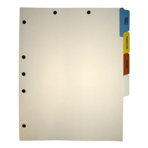 Stock Medical Chart Divider Sets, Side Tabs, 1/6th Cut (100 Sets of 4 Tabs) - (4 Boxes)