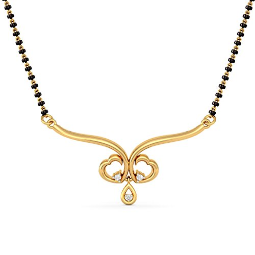 14 K jaune Or 0,04 CT TW White-diamond (IJ | SI) Mangalsutra