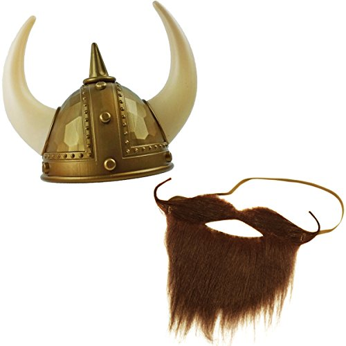 Iceland Halloween Costume (Viking Helmet with Beard - Viking Costumes - Novelty Costume Accessories by Tigerdoe)