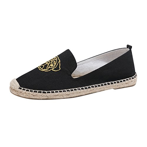 Jitong Outdoor Pantofole Punta Espadrille Basse Slip Casuale Chiusa Nero Bello per on Donna Loafers qqrwvp7